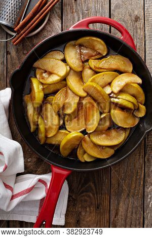 Fried Apples With Cinnamon In A Cast Iron Skillet, Fall Side Dish