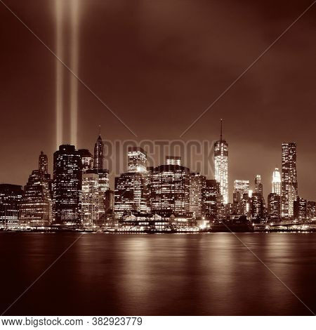 New York City downtown and september 11 tribute at night