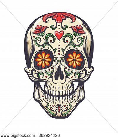 Sugar Skull Decorated To Day Of The Dead Dia De Los Muertos Sugar Skull, Or Calavera. Vector Illustr