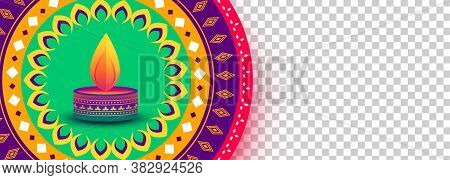 Colorful Diwali Festival Decorative Banner With Image Space