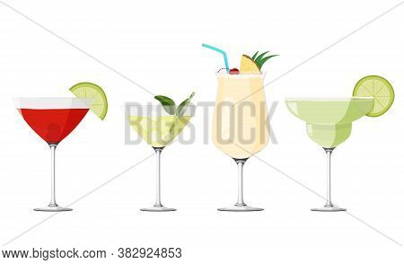 Cosmopolitan, Pina Colada, Daiquiri And Margarita Cocktails Set. Alcohol Drinks Collection.