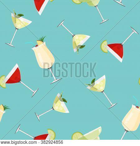 Cosmopolitan, Pina Colada, Daiquiri And Margarita Cocktails Background. Alcohol Drinks Seamless Patt