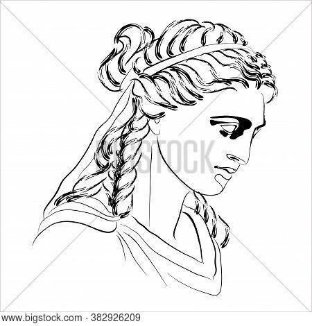 Vector Illustration Of The Home Goddess Hestia. Isolated Monochrome Sketch Of Vesta.