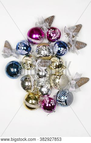 Close-up Shot Of Colorful Christmas Ornaments. Christmas Festive Decorations Stock Photo. Holiday De
