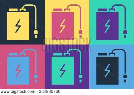 Pop Art Power Bank With Different Charge Cable Icon Isolated On Color Background. Portable Charging
