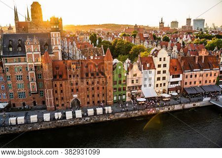 Gdansk, North Poland - August 13, 2020: Gdansk, North Poland - August 13, 2020: Wide Angle Panoramic