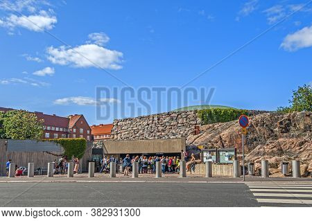 Helsinki, Finland - September 2, 2019: The Church Of The Rock, Built Directly Into The Solid Rock. T