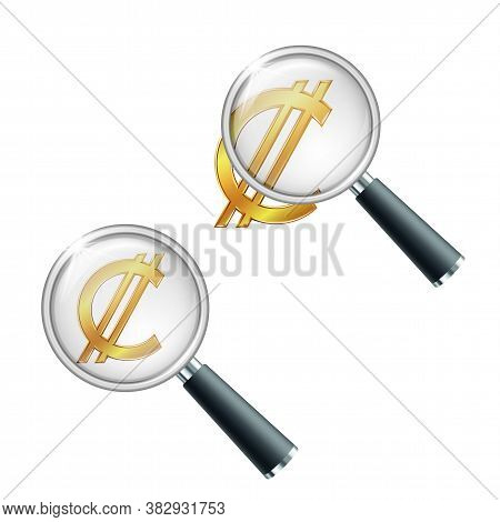 Golden Costa Rican And Salvadoran Colon Currency Symbol With Magnifying Glass.