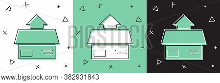 Set Carton Cardboard Box Icon Isolated On White And Green, Black Background. Box, Package, Parcel Si