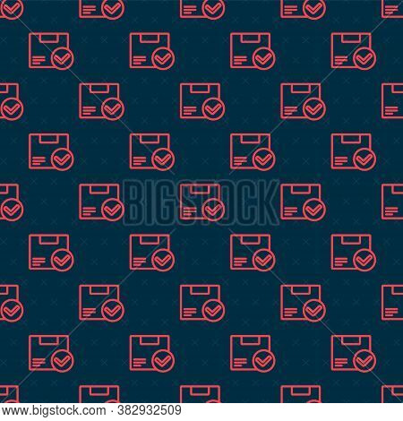 Red Line Package Box With Check Mark Icon Isolated Seamless Pattern On Black Background. Parcel Box.