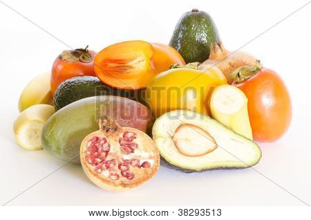 an exotic fruits collection isolated on white poster