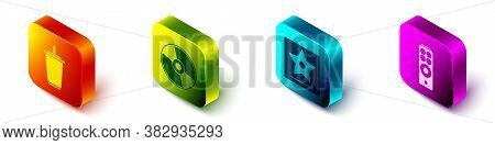 Set Isometric Paper Glass With Water, Cd Or Dvd Disk, Hollywood Walk Of Fame Star And Remote Control