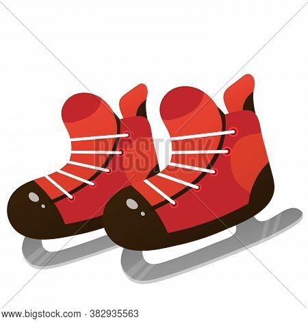 Red Skates For Kids. Winter Sports. Figure Skating And Hockey.
