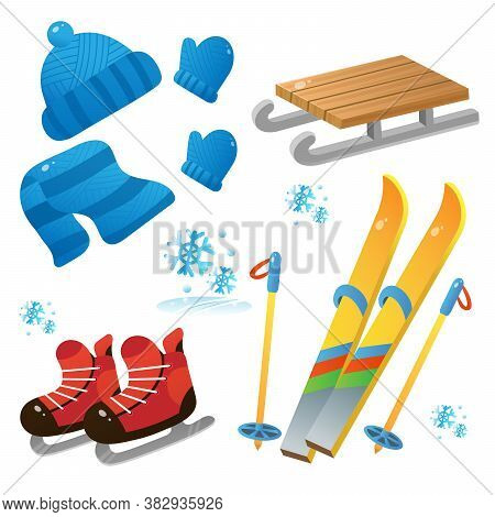 Winter Decorative Set For Kids. Ski And Skates. Wood Sledge. Cap. Mittens. Scarf. Winter Clothes. Wi