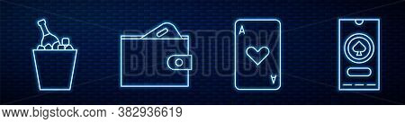 Set Line Playing Card With Heart, Champagne In An Ice Bucket, Wallet With Money And Casino Poker Tou