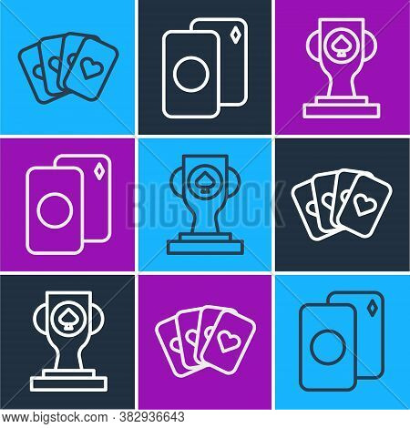 Set Line Deck Of Playing Cards, Casino Poker Trophy Cup And Deck Of Playing Cards Icon. Vector