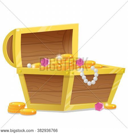 Color Image Of Cartoon Treasure Chest On A White Background. Pirate Coffer With Gold And Jewels. Dec