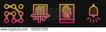 Set Line Fingerprint, Graphic Password Protection, Paper Shredder And Ringing Alarm Bell. Glowing Ne