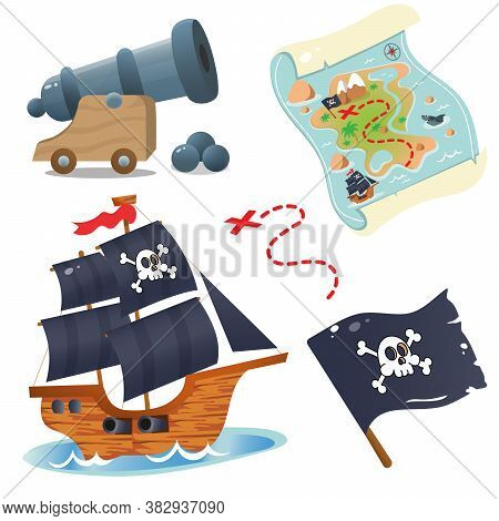Pirate Ship. Sailboat With Black Sails In Sea. Pirate Cannon. Black Flag With Skull. Treasure Map.