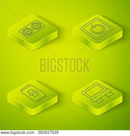Set Isometric Electric Light Switch, Electric Light Switch, Fuse And Electrical Outlet Icon. Vector