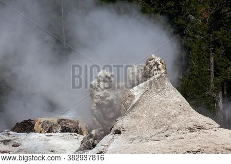 Giant Geyser With Bijou Geyser Behind It, Both Releasing Steam Against A Green Tree Background On A