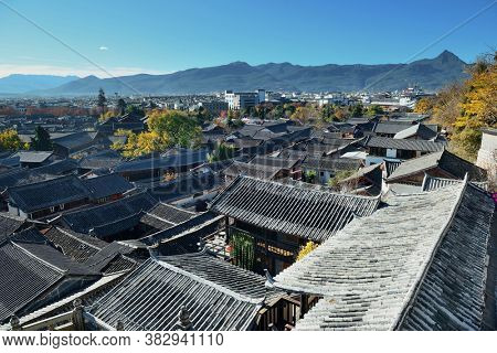 Lijiang Old Town mountain top view with local historical architectures
