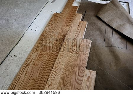 Renovation Of Home Floor With Exposed Plywood And Old Carpet With New Red Oak Wooden Boards