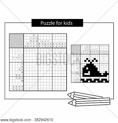 Whale. Marine Life. Black And White Japanese Crossword With Answer. Nonogram With Answer.  Puzzle Ga