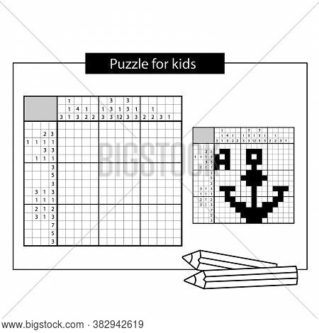 Anchor. Black And White Japanese Crossword With Answer. Nonogram With Answer.  Puzzle Game For Kids.