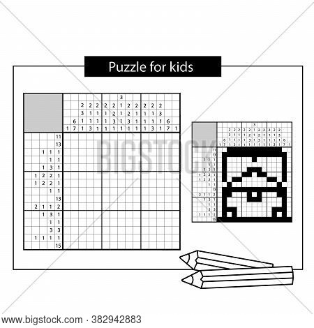 Treasure Chest. Black And White Japanese Crossword With Answer. Nonogram With Answer. Puzzle Game Fo