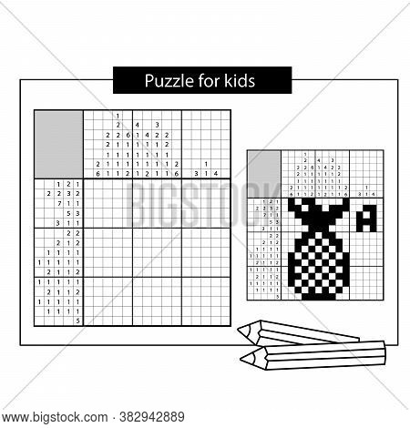 Ananas. Black And White Japanese Crossword With Answer. Nonogram With Answer.  Puzzle Game For Kids.