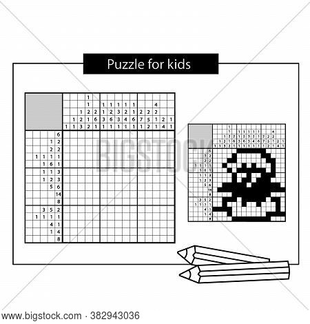 Chick. Black And White Japanese Crossword With Answer. Nonogram With Answer. Puzzle Game For Kids.