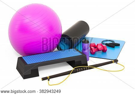 Fitness, Aerobic Sports Equipments. 3d Rendering Isolated On White Background