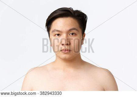 Beauty, Skincare And Hygiene Concept. Close-up Of Young Asian Man With Acne Prone Skin, Standing Nak