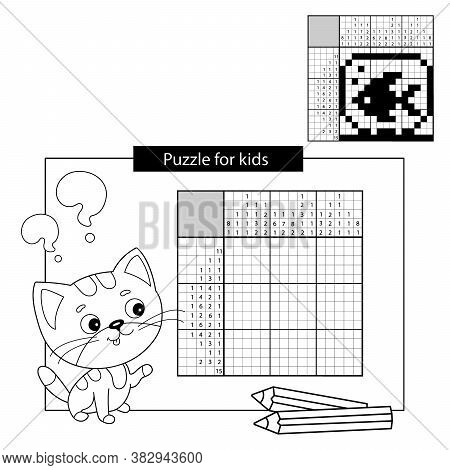 Aquarium With Fish. Black And White Japanese Crossword With Answer. Coloring Page Outline Of Little
