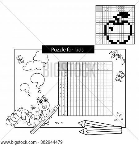 Apple. Black And White Japanese Crossword With Answer. Coloring Page Outline Of Caterpillar With Pen