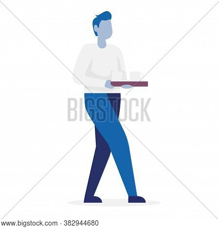 Secretary Carries A Tray Of Coffee. Side View. Color Vector Cartoon Illustration