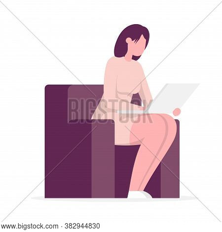 Man Sitting On A Chair With A Laptop. Side View. Flat Cartoon Vector Color Illustration For Web. Iso