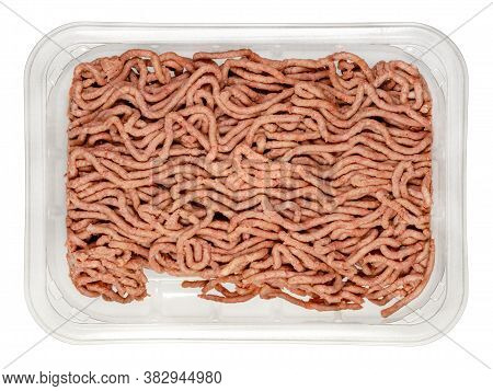 Vegan Ground Meat In A Plastic Tray. Substitute For Minced Meat Based On Pea Protein, With Onions An
