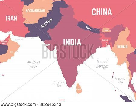 South Asia Map. High Detailed Political Map Of Southern Asian Region And Indian Subcontinent With Co