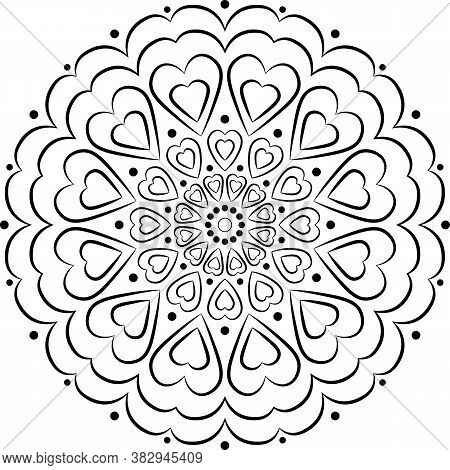 Vector Mandala With Hearts. Black On White Background Decorative Element. Circular Geometric Abstrac