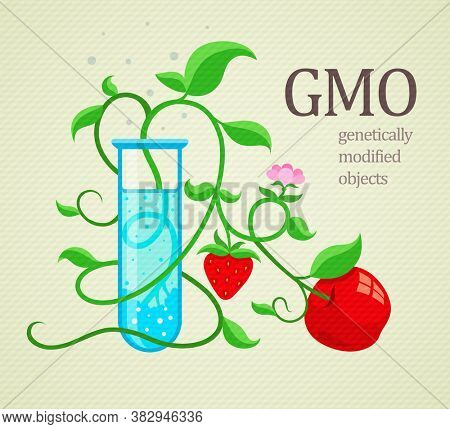 GMO genetically modified plants growing in test-tube. 3D illustration.