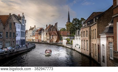 Brugge/belgium - Sept. 18 2018: Canal Boat Ride On The St. Annarei Canal In The Historic City Of Bru