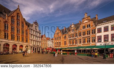 Brugge / Belgium - Sept. 18, 2018: The Colorful Medieval Houses With Step Gables Lining The Central