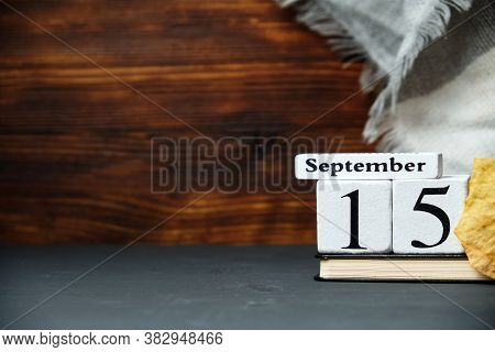 Fifteenth Day Of Autumn Month Calendar September With Copy Space