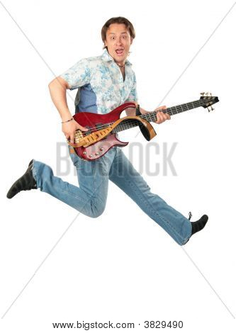 Young Man With Guitar Jumping