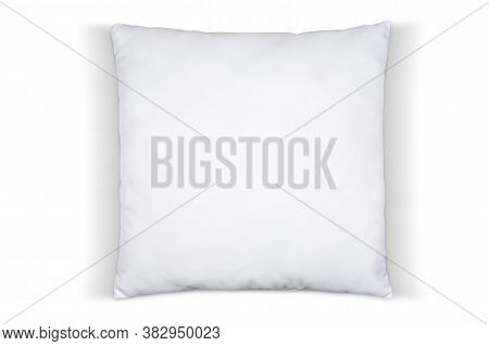 Top Down View Of Square White Throw Pillow Isolated On A Pure White Background With A Clipping Path