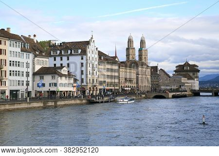 Zurich, Switzerland - May 31, 2016: Cityscape And River On May 31, 2016 In Zurich, Switzerland. It I