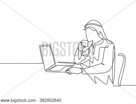 One Continuous Line Drawing Of Young Muslim Marketing Manager Reading Sales Report From Team Member.