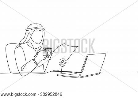 One Single Line Drawing Of Young Muslim Businessman Reading News On Newspaper And Internet While Tak